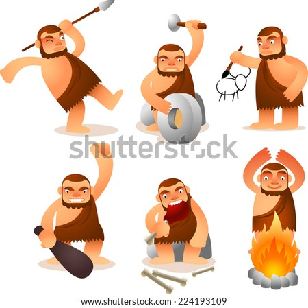 Cartoon Caveman set with 6 fun positions. - stock vector