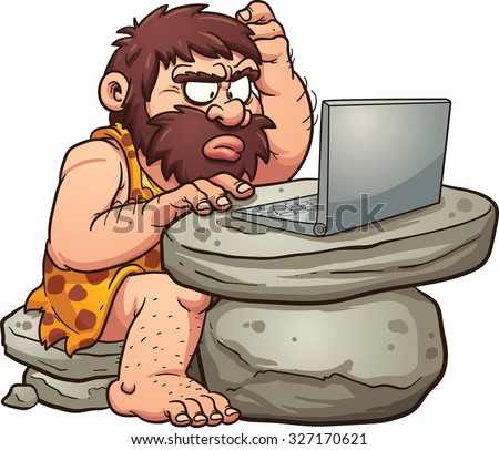 Cartoon caveman using a laptop. Vector clip art illustration with simple gradients. All in a single layer.