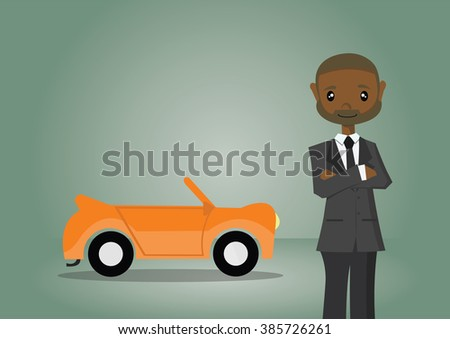 Cartoon character, African businessman and his car., vector eps10 - stock vector