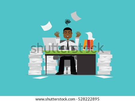 Cartoon character, African businessman busy., Vector eps10