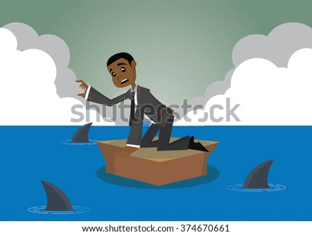 Cartoon character, African businessman stuck on the island surrounded by sharks., vector eps10 - stock vector