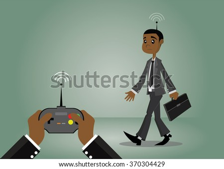 Cartoon character, African businessman that are forced by the remote control, vector eps10 - stock vector