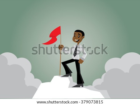 Cartoon character, African businessman with flag on the iceberg., vector eps10