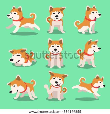 Cartoon character akita inu dog poses - stock vector