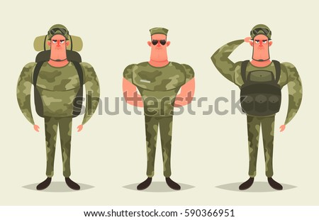 Cartoon Character - Army Soldier. Vector Set