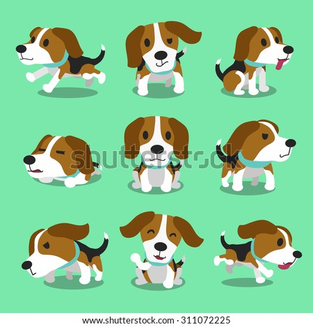 Cartoon character beagle dog poses - stock vector