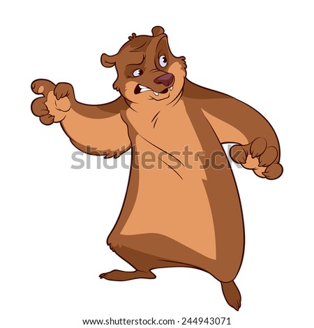 Cartoon character. Brown angry bear. Vector clip-art illustration on a white background. - stock vector