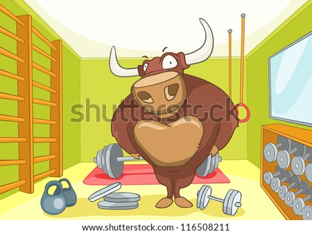 Cartoon Character Bull Bodybuilder. Vector Illustration EPS10. - stock vector