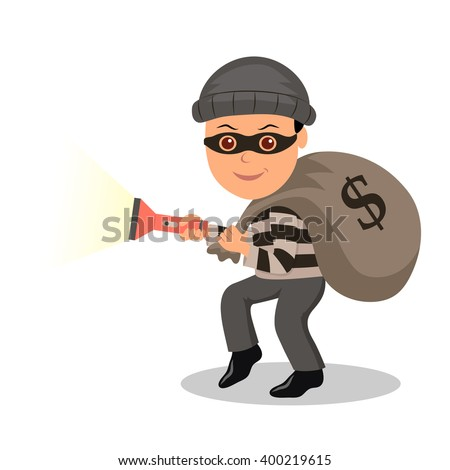 Cartoon character burglar in a mask with the stolen bag. Male in a mask with a bag and a torch sneaks on tiptoe - stock vector