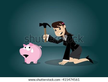 Cartoon character, Business woman breaking piggy bank., vector eps10 - stock vector