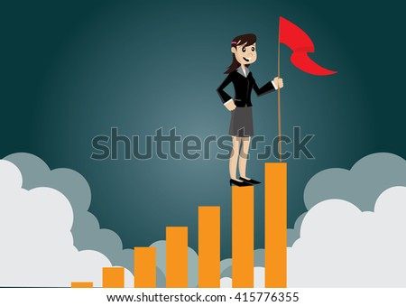 Cartoon character, Business woman holding a flag on top the graph., vector eps10 - stock vector