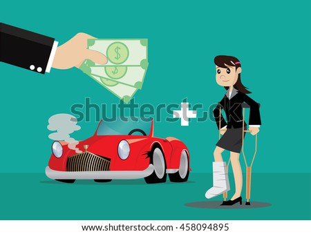 Cartoon character, Business woman Insurance paid medical bills and damage the car., vector eps10 - stock vector