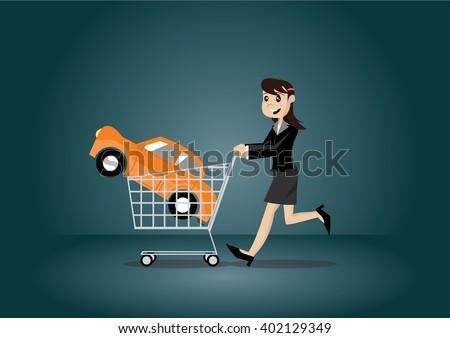 Cartoon character, Business woman shopping cart and car., vector eps10 - stock vector