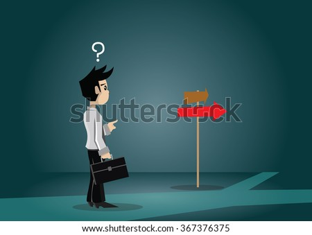 Cartoon character businessman and choice, vector eps10 - stock vector