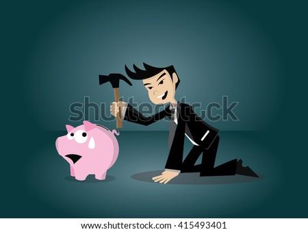 Cartoon character, Businessman breaking piggy bank., vector eps10 - stock vector