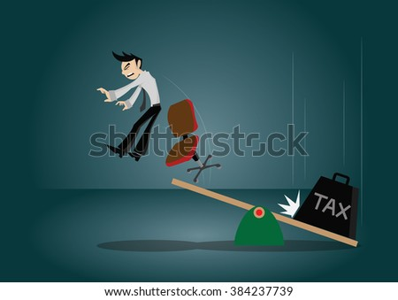 Cartoon character, Businessman gets bounced from the boards by tax pendulum., vector eps10 - stock vector