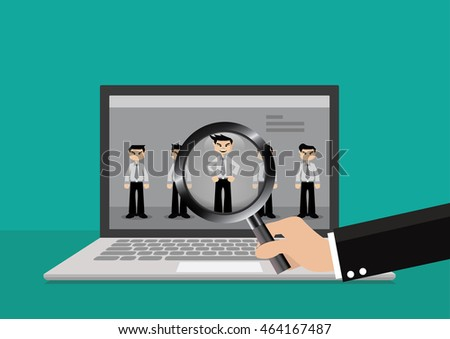 cartoon character businessman hand search resume stock vector
