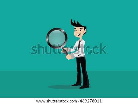 Cartoon character, Businessman holding a magnifying glass., vector eps10