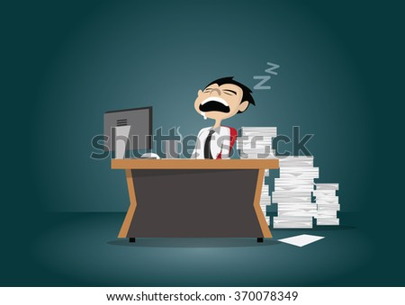 Cartoon character, Businessman sleeping in the office., vector eps10