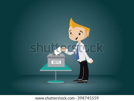 Cartoon character, Businessman votes Voting., vector eps10 - stock vector