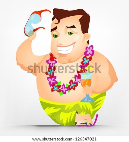 Cartoon Character Cheerful Chubby Men. At the Beach. Vector Illustration. EPS 10. - stock vector