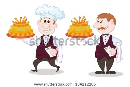 Cartoon character cook and waiter with sweet holiday cake, isolated on white background. Vector - stock vector