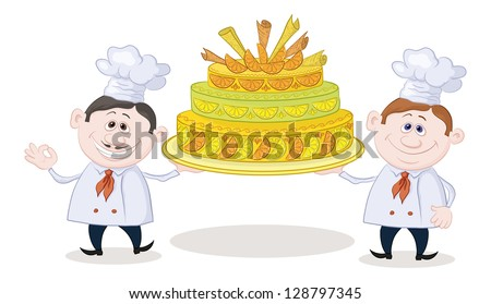 Cartoon character cooks - chefs with sweet holiday cake, isolated on white background. Vector - stock vector