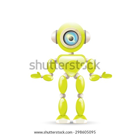 Cartoon Character Cute green Robot Isolated on white. Dancing Robot - stock vector