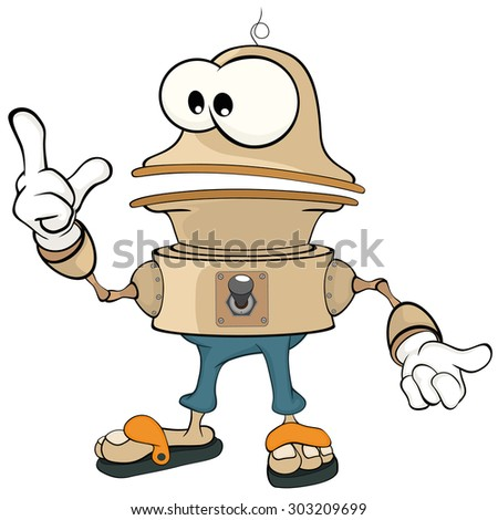 Cartoon character cute robot - stock vector