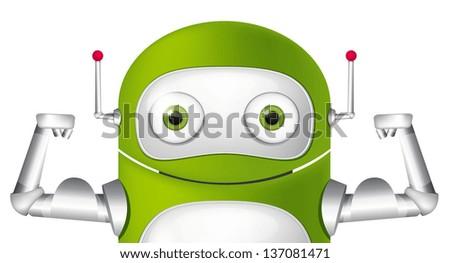 Cartoon Character Cute Robot. Avatar Strong. Vector EPS 10. - stock vector