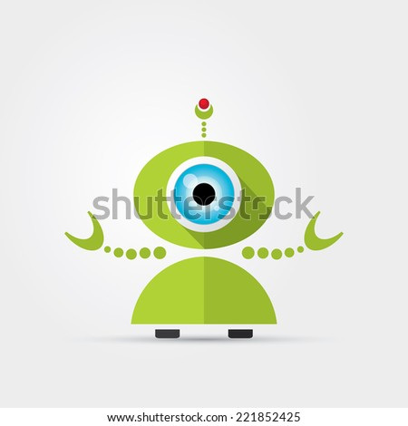 Cartoon Character Cute Robot Isolated on Grey Gradient  - stock vector