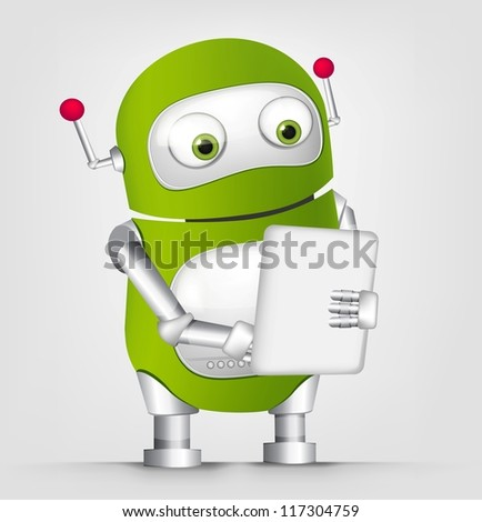 Cartoon Character Cute Robot Isolated on Grey Gradient Background - stock vector