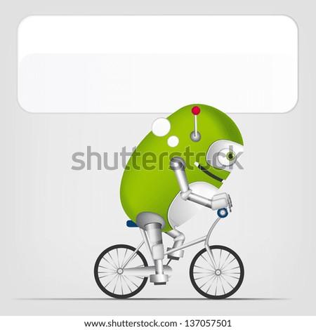 Cartoon Character Cute Robot Isolated on Grey Gradient Background. Biker. Vector EPS 10. - stock vector
