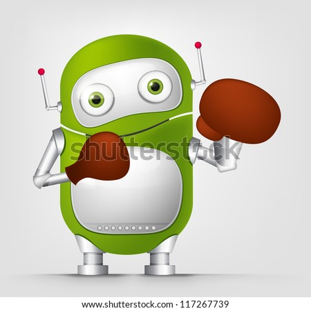 Cartoon Character Cute Robot Isolated on Grey Gradient Background. Boxing. Vector EPS 10. - stock vector