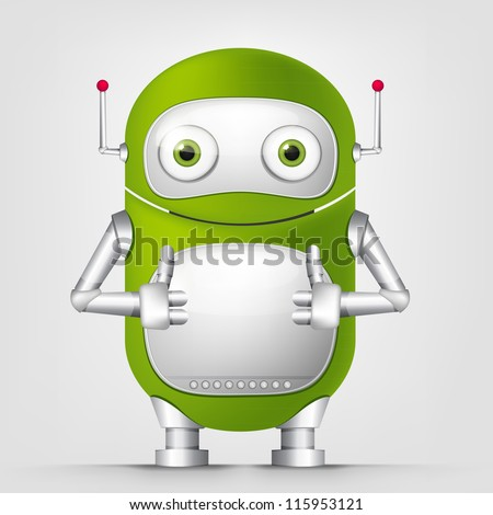 Cartoon Character Cute Robot Isolated on Grey Gradient Background. Cool. Vector EPS 10. - stock vector