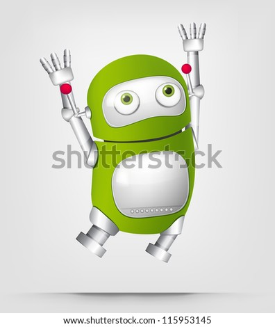 Cartoon Character Cute Robot Isolated on Grey Gradient Background. Jumping. Vector EPS 10. - stock vector