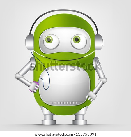 Cartoon Character Cute Robot Isolated on Grey Gradient Background. Listening to Music. Vector EPS 10. - stock vector