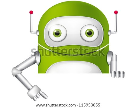 Cartoon Character Cute Robot Isolated on Grey Gradient Background. Look Out. Vector EPS 10.