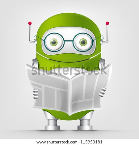 Cartoon Character Cute Robot Isolated on Grey Gradient Background. News. Vector EPS 10. - stock vector