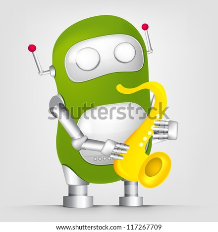 Cartoon Character Cute Robot Isolated on Grey Gradient Background. Saxophonist. Vector EPS 10. - stock vector