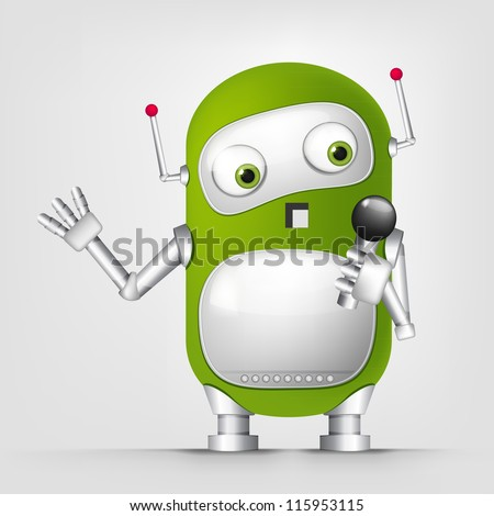 Cartoon Character Cute Robot Isolated on Grey Gradient Background. Singing. Vector EPS 10.