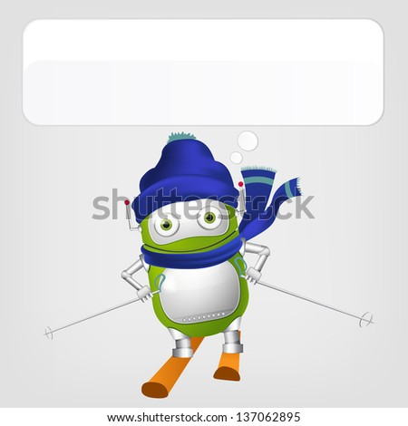 Cartoon Character Cute Robot Isolated on Grey Gradient Background. Skiing. Vector EPS 10. - stock vector