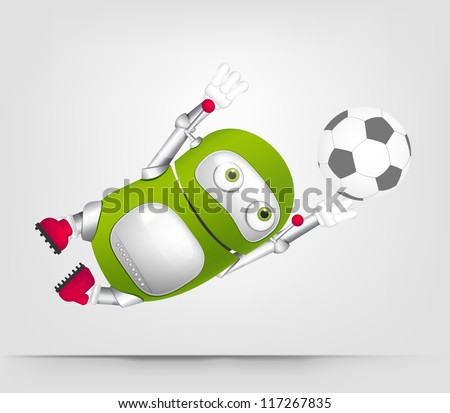 Cartoon Character Cute Robot Isolated on Grey Gradient Background. Soccer. Vector EPS 10. - stock vector