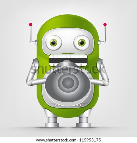 Cartoon Character Cute Robot Isolated on Grey Gradient Background. Speaker. Vector EPS 10. - stock vector