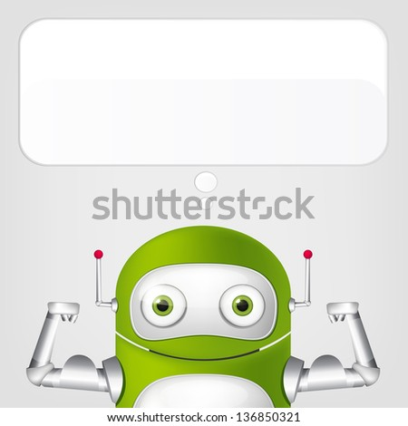 Cartoon Character Cute Robot Isolated on Grey Gradient Background. Strong. Vector EPS 10. - stock vector