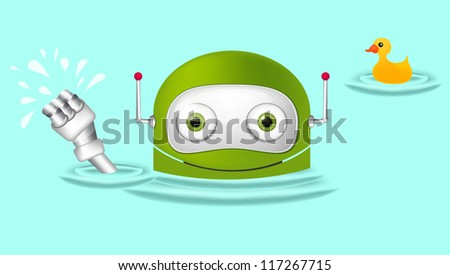 Cartoon Character Cute Robot Isolated on Grey Gradient Background. Swimmer. Vector EPS 10. - stock vector