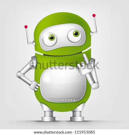 Cartoon Character Cute Robot Isolated on Grey Gradient Background. Thinking. Vector EPS 10.