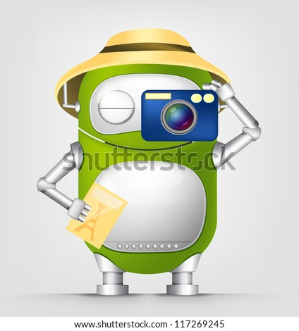 Cartoon Character Cute Robot Isolated on Grey Gradient Background. Tourist Photographer. Vector EPS 10. - stock vector