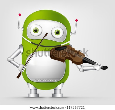 Cartoon Character Cute Robot Isolated on Grey Gradient Background. Violinist. Vector EPS 10. - stock vector