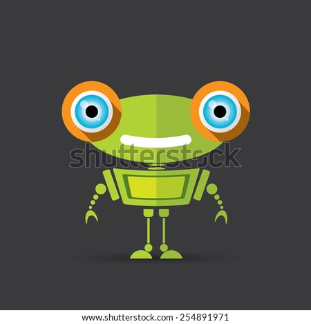 Cartoon Character Cute Robot on black - stock vector